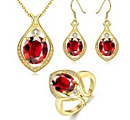 Fashion Water-Drop Zircon Gold-Plating Three-Piece(Gold,Rose Gold,White)(3pcs)