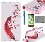 LEXY® Red Leather Pattern PU Full Body Leather Case with Screen Protector and Stylus for iPhone 5C