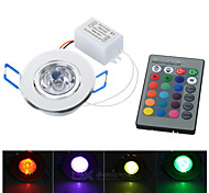 3W LED RGB Spotlight / Ceiling Lamp w/ Remote Controller (AC 85~265V)