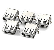 USB A Female Socket - Silver (5 PCS)