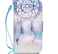 Campanula Pattern PU Leather Material Flip Card Phone Case for iPhone 4/4S
