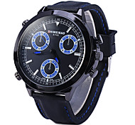 Men's Fashion Dial Rubber Strap Quartz Watch