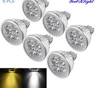 Youoklight® 6pcs mr16 4w диммируемый 4-светодиодный прожектор теплый белый / холодный белый свет 3000 / 6000k 320-350lm (dc 12v)