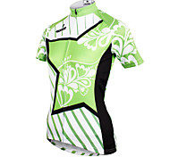 ilpaladinoSport Women Short Sleeve Cycling Jersey New Style Distinctive  DX686  Star flower green 100% Polyester