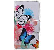 Two Butterflies Painted PU Phone Case for Sony Xperia M2/M4