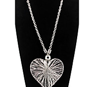 Hollow Silver Heart Pendant Statement Necklace