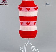 Cat / Dog Coat / Sweater Red / Blue Winter Stripe / Hearts Wedding / Cosplay / Christmas / Holiday / New Year's