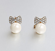 Stud Earrings Pearl Imitation Pearl Rhinestone Alloy Fashion White Jewelry Wedding Party Daily Casual 2pcs