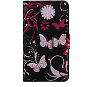 Pink Butterfly Pattern PU Leather Full Body Cover with Stand for Wiko Lenny 2