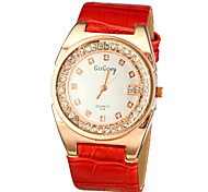 Women's Sparkle Case PU Band Quartz Watch