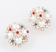 Korean Fashion Colorful Crystals Pearl Stud Earring