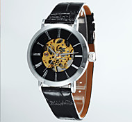 Men's Fashion Hollow Round Dial Leather Band Machine Analog Semi-Automatic Wrist Watch(Assorted Color)