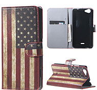 USA Flag  Card Holder Leather Stand Case for Wiko Rainbow Jam