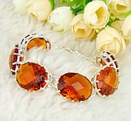 increíble ovales brillante brasil citrino joya 0.925 pulseras de plata de la cadena de enlace de brazaletes para el banquete de boda de