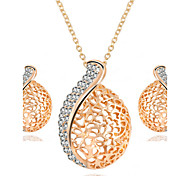 Hot Fashion Vintage Hollow Leaves Pendant Necklace Drop Earring Jewelry Set