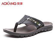 Aokang Men's Leather Slippers Black