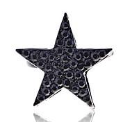 Korean Version Full of Crystals Black Star Adjustable Ring