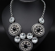 Silver Rhinestone Circle Statement Necklace