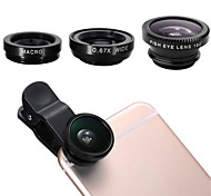 clip-on lentille de l'œil 3 en 1 de poisson + grand angle + kit de micro-lentilles pour iPhone6 ​​universelle / 6 plus / 5 / 5s / sansumg Galaxy S3