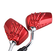 Pair Motorcycle Side Rear View Mirrors Skeleton Hand Red 10mm for Suzuki