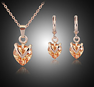 Lucky Doll Women's All Matching Crystal Rose Gold Plated Zirconia Heart Necklace & Earrings Jewelry Sets