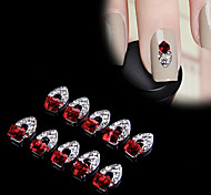 New Charming 10Pcs 3D Nail Art Red Crystal Alloy DIY Decoration Tips Rhinestones For Nails