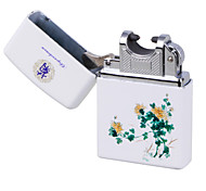 Blue & White Porcelain ARC Pulse Charging USB Lighter Ultra Thin Windproof Electronic Cigarette Lighter Chrysanthemum