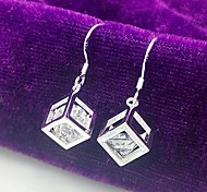 925 Silver Crystal Cube Lattice Drop Earrings Wedding/Party/Daily/Casual 2pcs