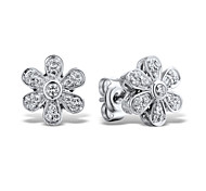Women's Fashion Sterling Silver set with Cubic Zirconia Flower Shape Earrings