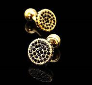 Fashion Copper Men Jewelry Silver Round CZ Crystal Rhinestone Delicate Button Cufflinks(1Pair)