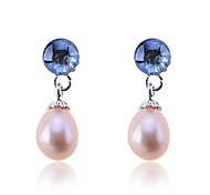 Korean Fashion Crystal Water Drop Pearl Silver Plating Earrings