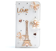 handgefertigte Diamant-Eisenturm Schmetterling PU-Leder Ganzkörper-Fall mit Ständer für Samsung Galaxy Note 2/3/4/5