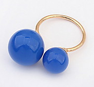 European Style Fashion Simple Two Ball Openings Ring(Color optional)