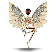 cristallo opalino spilla ali di angelo della ragazza