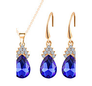 Hot 5 Colors Zircon Water-Drop Pendant Necklace Stud Earring Wedding Jewelry Set(Assortd Color)