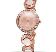 la mode weiqin®woman regarder le style rome or rose strass blanc cadran rond femmes montres à quartz horloge