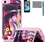 LEXY® Purple Cartoon Cat Pattern Soft TPU Back Case with Screen Protector and Stylus for iPhone 5C