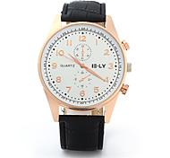 IE-LY Decorative Sub-dials Quartz Watch Male Leather Strap Wrist Watch Cool Watch Unique Watch