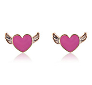 Korean Fashion Enamel Heart With Swing Stud Earrings