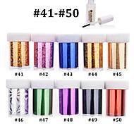 10pcs Nail Art Transfer Foils DIY Beauty Polish Sticker Paper with 1pcs Nail Foil Adhesive Glue (#41-#50)