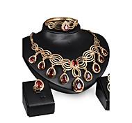 Women's Vintage 18K Gold Plated Zirconia Cut Out Flower Necklace & Earrings & Bracelet & Ring Jewelry Set