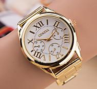 Luxury Geneva Fashion Women Ladies Watches Gold Stailess Steel Roman Numerals Analog Quartz Wrist Watch Cool Watches Unique Watches