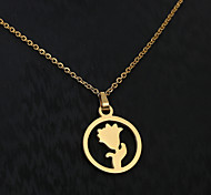 European  fashion personality titanium steel gold pattern necklace 2- roses  Wedding / Party / Daily / Casual 1pc