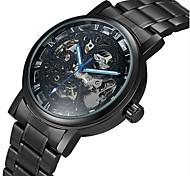 WINNER Мужской Часы со скелетом Механические часы С гравировкой С автоподзаводом Нержавеющая сталь Группа Люкс Черный Серебристый металл