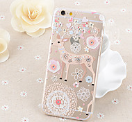 Lovely Flowers Sika Deert Pattern Transparent TPU Soft Case for iPhone 5/iPhone 5S