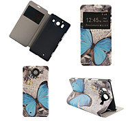 Blue Butterfly Pattern PU Leather Full Body Cover with Stand for Nokia Lumia 950XL N950XL