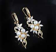 2015 Fashion Pearl Gold Plated Noble Wedding Party Drop Earrings For Woman&Lady