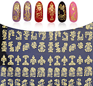 108pcs/sheet Hot Gold 3D Nail Art Stickers Decals