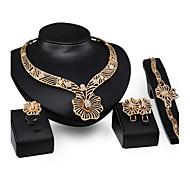 Women Wedding Bridal Pierced Flower-type Butterfly Alloy Necklace Earrings Bracelet Ring Jewelry Set