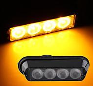 4W High Power 4 LED Waterproof Car Truck Emergency Strobe Flash Light Amber